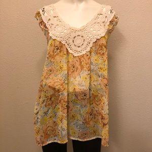 Lily White crochet sleeveless top XS